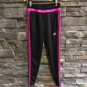 Adidas Pink and Black Joggers Three Stripe Size XS